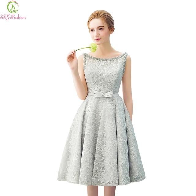 95015bb5ab7 Vestidos банкет вечернее платье ssyfashion короткие Кружево без рукавов коктейльное  платье Сладкий невесты платье на заказ