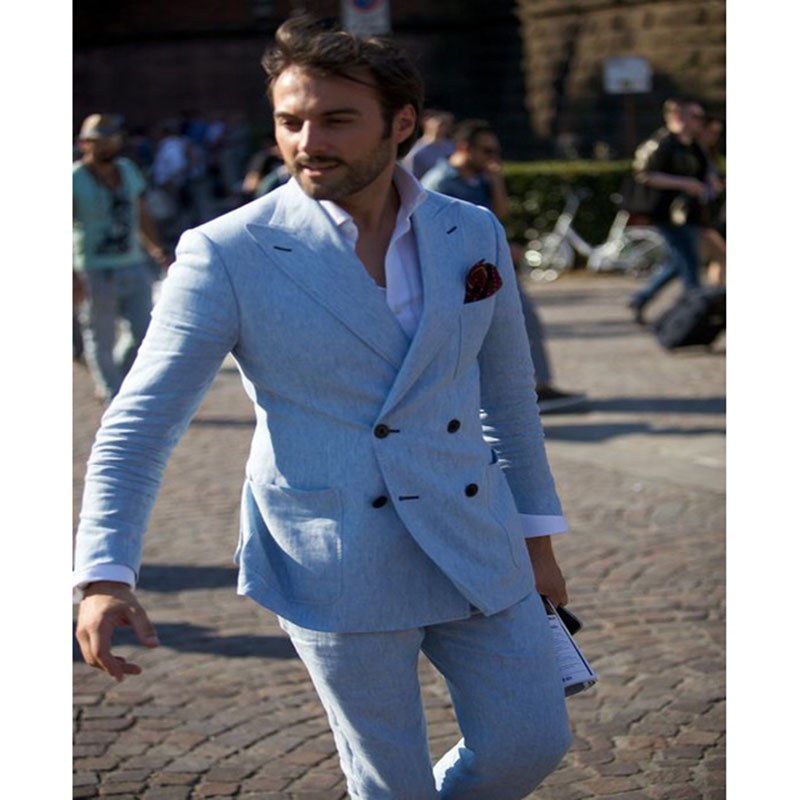 Men's Suits Groomsuits Custom Linen Double Breasted Summer Light Blue Beach Set Custom Tops & Pants