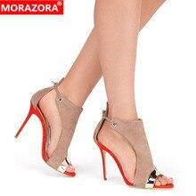 MORAZORA 2019 kích thước lớn 35 45 phụ nữ Đấu Sĩ dép flock buckle mùa hè stiletto giày cao gót giày sexy thời trang cưới giày