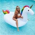 Gigante Inflable Anillo de la Natación Del Flotador de La Piscina Blanco Unicornio Paseo En Juguetes Animales Adultos Niños de Vacaciones Isla de Peluche Juguetes Para el Agua