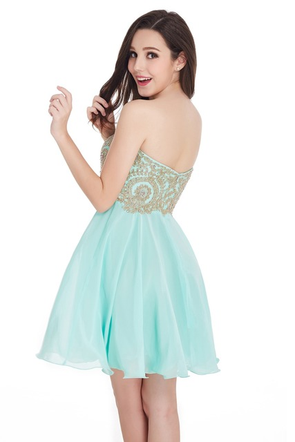 New A Line Sweetheart Elegant Gold Lace Appliques Royal Blue Short Evening Dress Robe De Soiree Courte Evening Gown
