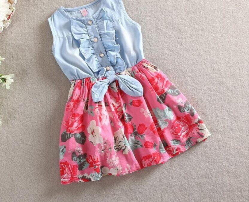 US Toddler Baby Kid Girl Princess Dress Flower Denim Sleeveless Shirt Tutu Skirt
