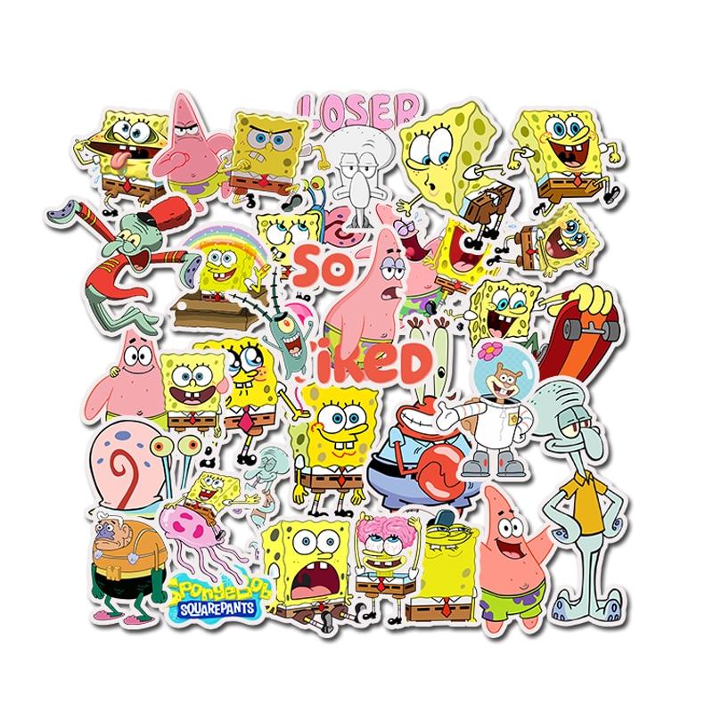 50Pcs/Pack SpongeBob Stickers Cartoon Graffiti Pegatinas For Motorcycle Notebook Laptop Luggage Bicycle Skateboard