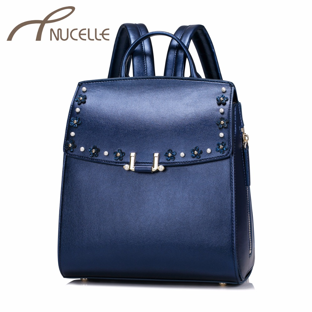 ФОТО NUCELLE Women PU Leather Backpack Fashion Female Rivet Flower Leisure Daily Double Shoulder Bags Ladies Travel Rucksack NZ41013