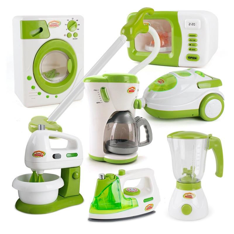 Mini Kitchen Toys Electronic Iron Juicer Coffe Machine Washing Machine Vacuum Cleaner Blender Household Appliances Toys
