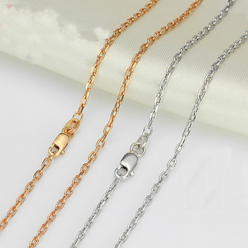 Authentic 18K Yellow White Rose Gold Necklace Cable Chain Link Sweater Chain For Women Lady Fashion Necklave 19.7inchL 2.9-3.1g 3