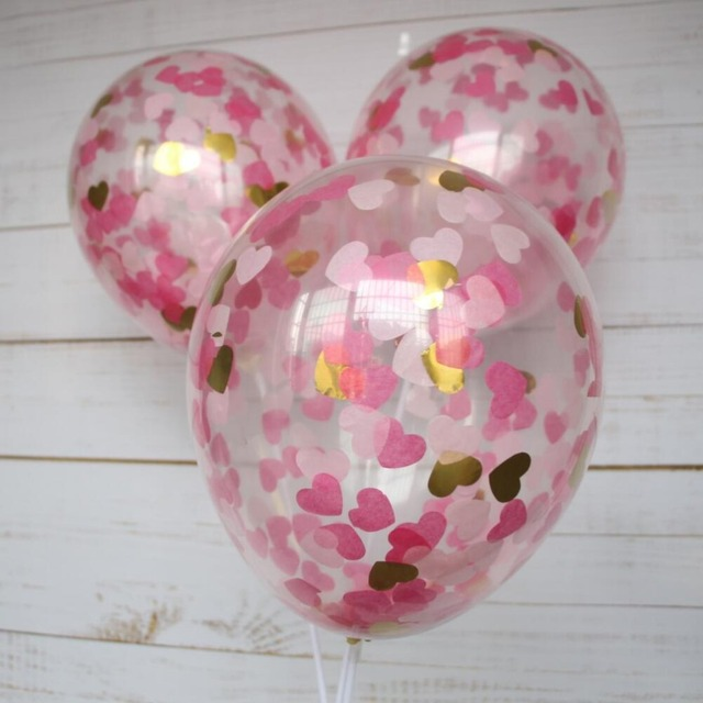 5pcs Heart Confetti Balloon Gender Reveal Wedding Valentines Day