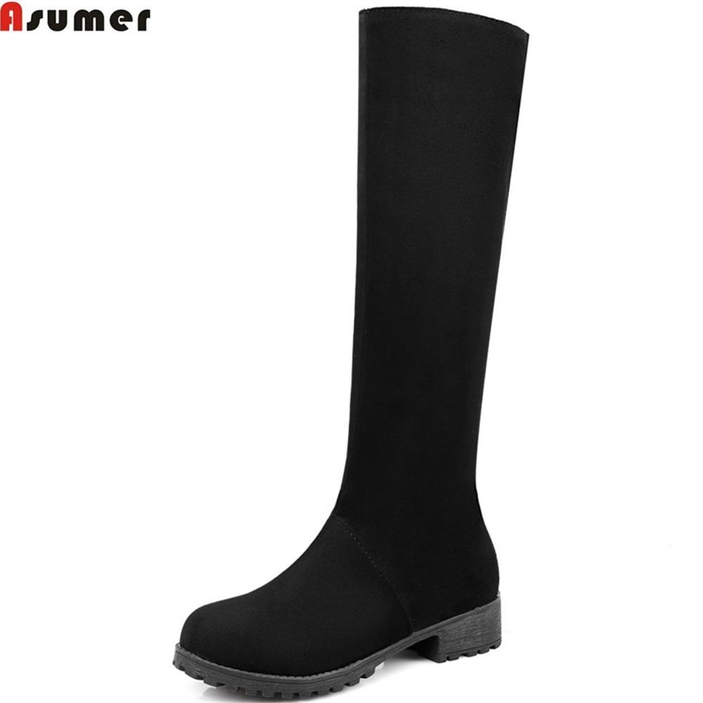 ASUMER black brown fashion women boots round toe zipper flock ladies boots square heel autumn winter knee high boots big size