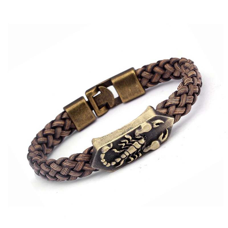 Trendy Unique Diy Braided Chain link Charm Bracelets Men Women Jewelry Brown Color Vintage Scorpion Wrap Leather Bracelets