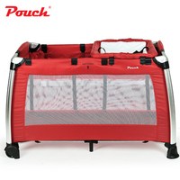 Pouch Multifunction Foldable Baby Bedding, Aluminium Alloy Baby Cribs, Baby Games Bed, Infant Cot