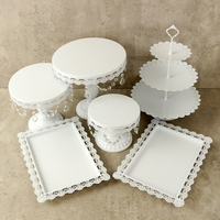 White Gold Crystal Pearl Metal Cake Stand Cupcake Dessert Serving Rack Holder Party Wedding Banquet Table Decorations 6Pcs/Set