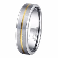 2015 Class Ring 6MM 18K Gold Inlaid Tungsten Carbide Rings For Women Wedding Band Comfort Fit