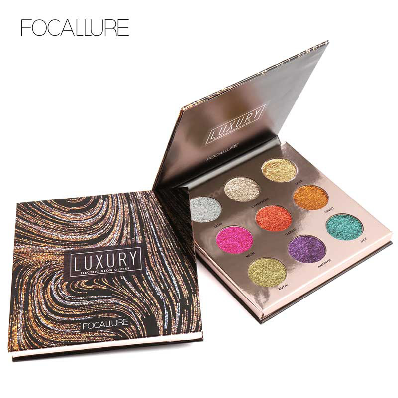 FOCALLURE Professional Eyeshadow Palette 9 Colors Makeup Eye Shadow Bright Glitters Makeup Lips Face Glitter Palette