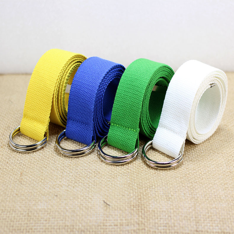 Simple Solid Cotton Canvas All-match Waist Straps Men & Women Canvas   Belt   D Shaped Double Ring Buckle Waistband Fashion