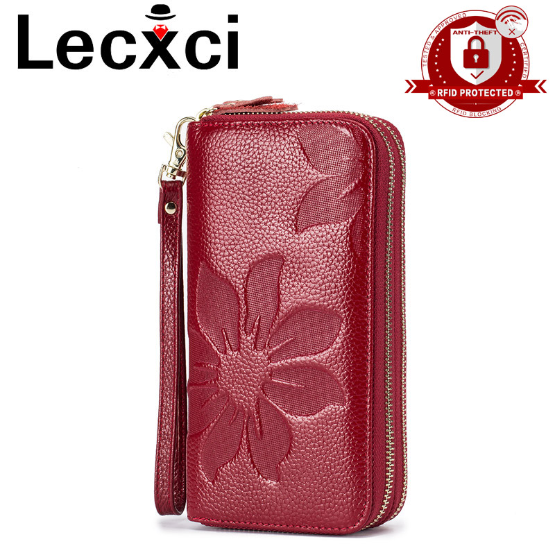 купить Long Wallets For Women Genuine Leather Floral Embossed Double Zipper Clutch Bag High Capacity Card Holder Wallet Female Wristlet по цене 1149.16 рублей