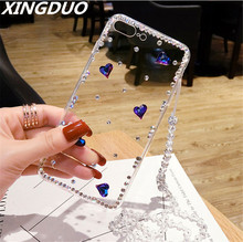 XINGDUO 3D Luxury Bling Crystal Rhinestone Cases For Samsung S10 plus lite S6 S7edge S8 S9 Plus Note3 4 5 8 9 Diamond Case Cover