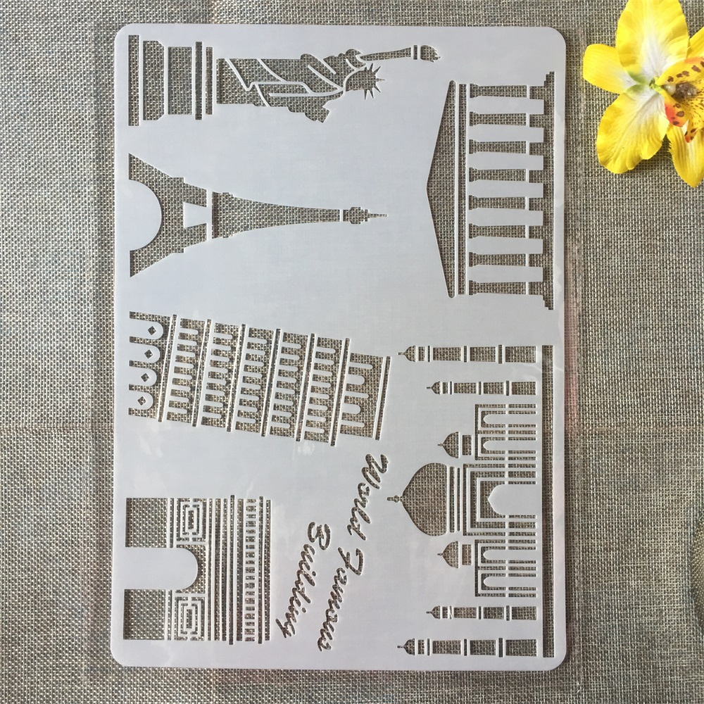 1Pcs A4 Tourist Spot Paris Italy DIY Craft Layering Stencils Painting Scrapbooking Stamping Embossing Album Paper Card Template