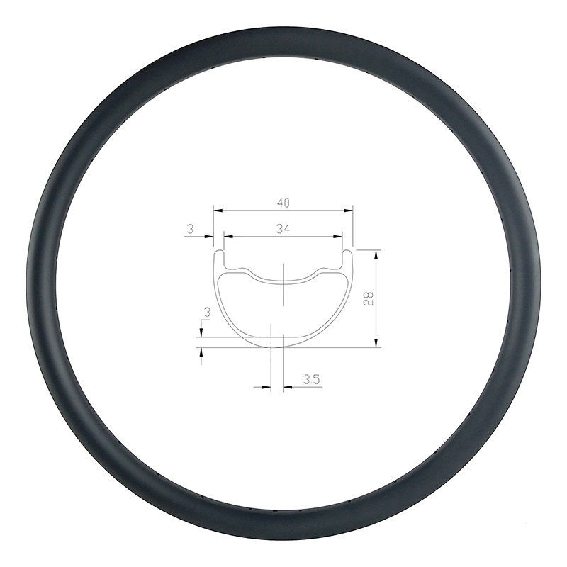 29er MTB AM ENDURO 40mm asymmetric carbon rim 28mm deep clincher tubeless UD 3K 12K matte