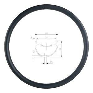 Image 1 - 29er MTB AM ENDURO 40mm asymmetric carbon rim 28mm deep clincher tubeless UD 3K 12K matte glossy 24H 28H 32H 36H hookless wheel