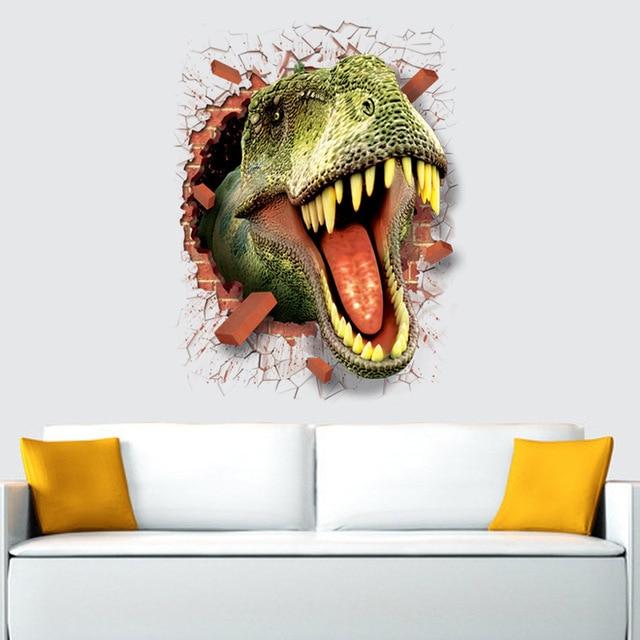 דינוזאור מדבקות נשלף ירוק 3D דינו מדבקת ציור עיצוב בית תמונה לילדים דקורטיבי רכב קיר תפאורה מדבקות