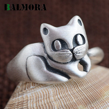 BALMORA Real 990 Pure Silver Jewelry Cute Cat Finger Rings for Women Girls Party Gifts Fashion Animal Ring Free Shipping SY21549