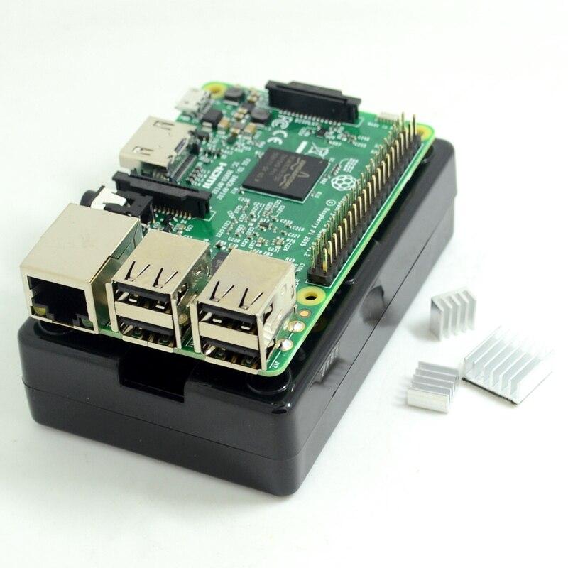 Raspberry Pi 3 Model B Board+black shell Heat sinks 1GB LPDDR2 Quad-Core WiFi&Bluetooth