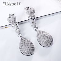 Beautiful 5cm long drop earrings for wedding party luxury bridal jewelry silver plate jewellery micro pave crystal earring