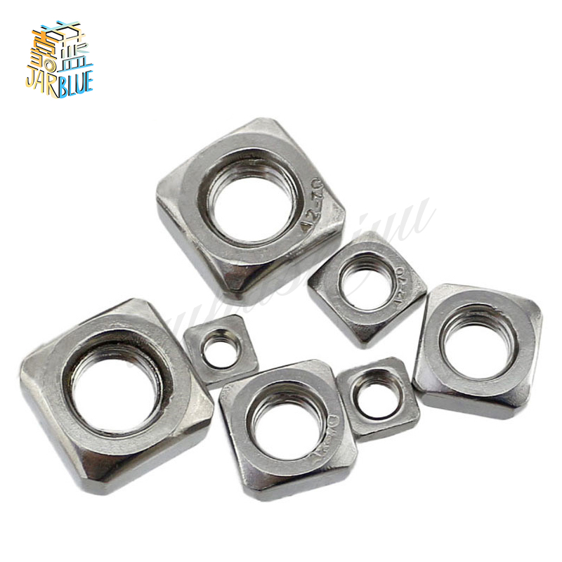 50Pcs DIN557 GB39 M3 M4 M5 M6 M8 304 Stainless Steel Square Nuts HW052