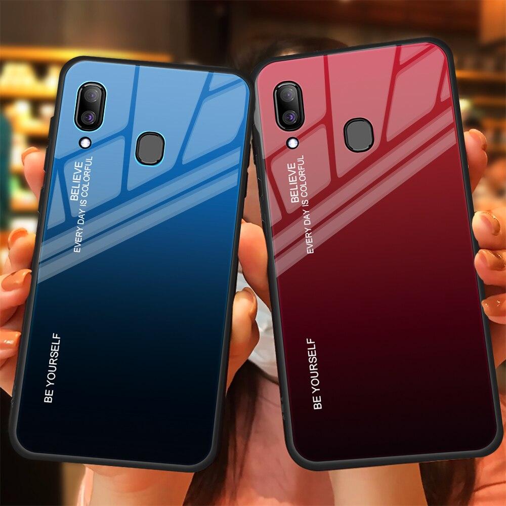HTB1iV.HdBGw3KVjSZFwq6zQ2FXa7 For Samsung Galaxy A20E A20S A20 Gradient Tempered Glass Case For Samsung Samsun A20 E S A 20e A20e Aurora Colorful Back Cover