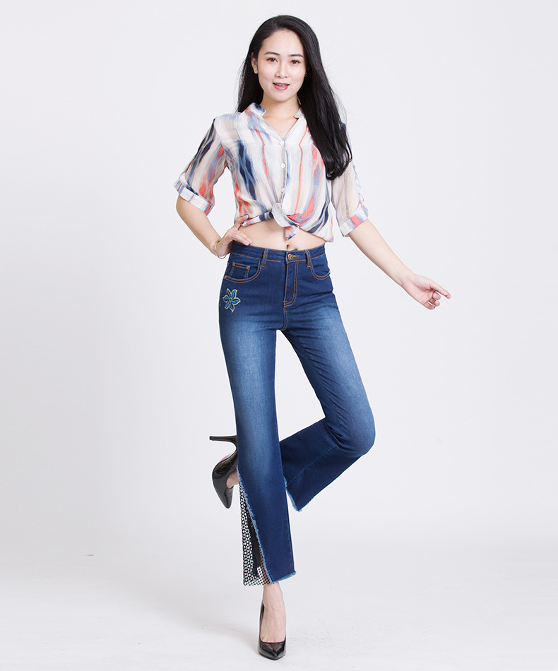 KSTUN hight waist jeans woman bell bottom emboridered denim pants push up net designer women slim fit gloria+jeans plus size 36 23