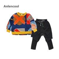 Anlencool Boys flower jacket fake harem pants sweater suit 2019 new spring Korean version tide two piece 2 7 years clothing set