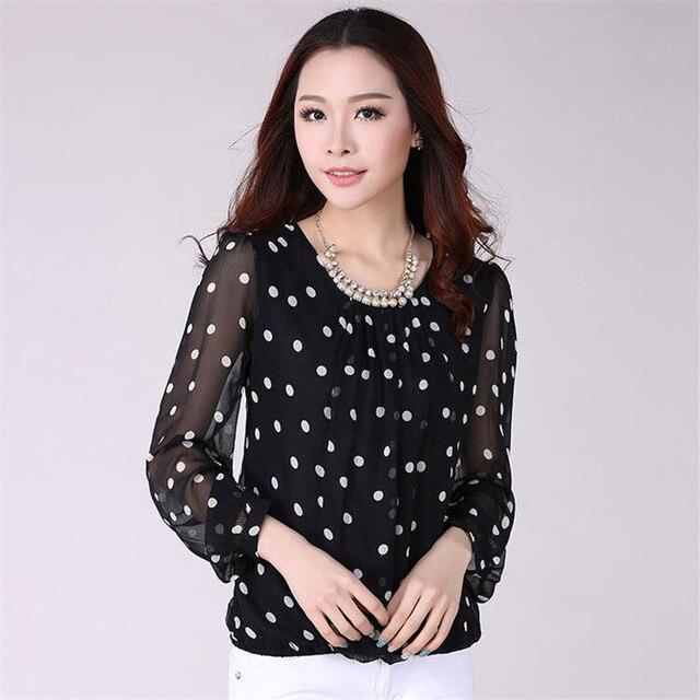 Women Blouse 2016 New Summer Plus Size Chiffon Shirts For Women Fashion Long Sleeve Tops Polka Dot  Women Shirt S-4XL