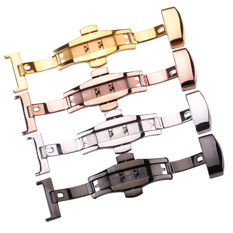 316L Stainless Steel 16 18 20 22 24mm Watch Buckle Watchbands Double Push Deployment Butterfly Clasp Strap Accessories