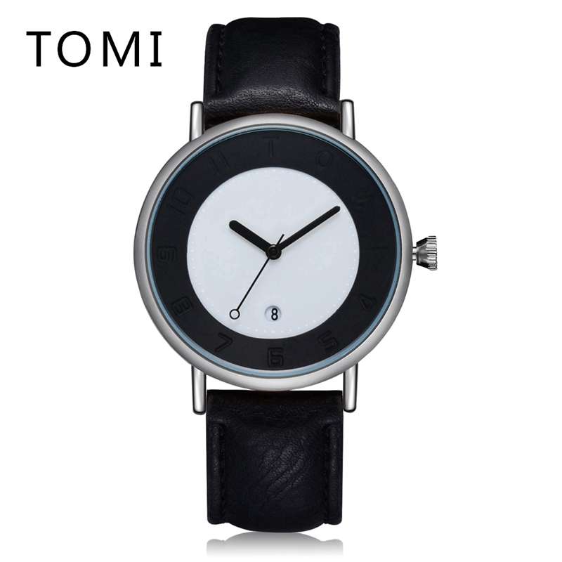 Tomi Top Brand Fashion Simple Watches Men Leather Watchband Business Quartz Wrist Watch Dress Outside Sport Male Clock T014 2017 fashion men watches top brand luxury function date leather sport watch male business quartz wrist watch reloj hombre