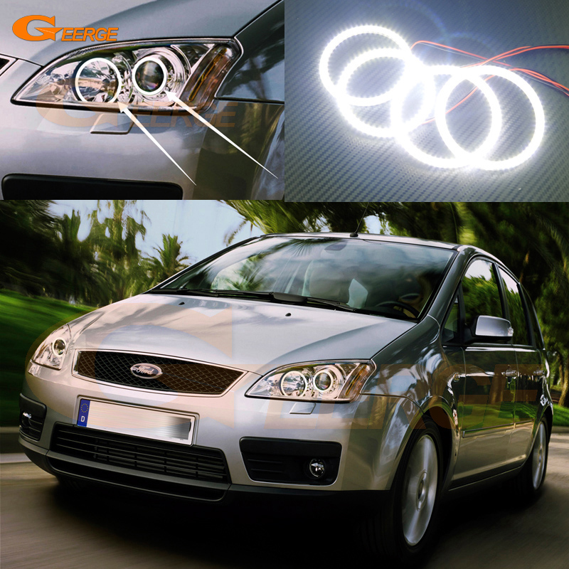 For Ford Focus C-Max 2003 2004 2005 2006 2007 Xenon headlight Excellent Ultra bright smd led Angel Eyes kit авита ру продать камаз зерновоз 2003 2005 года