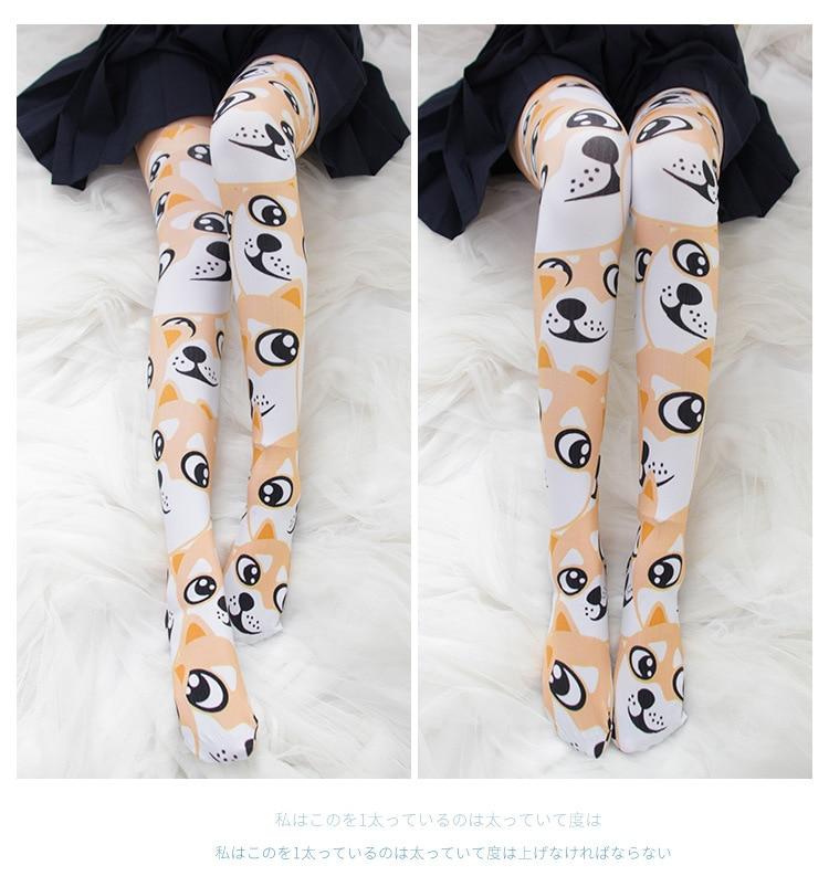 Japan Kawaii Doge thighhighs stockings Harajuku Girl Stocking Velvet Overknee Woman medias long socks Akita pup Cosplay 360D in Costume Accessories from Novelty Special Use