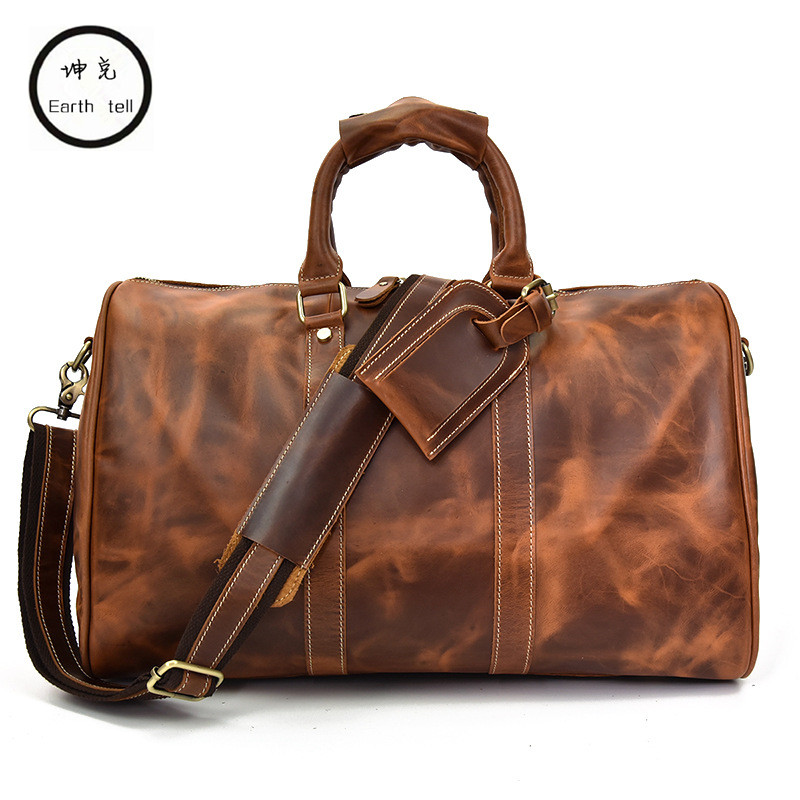 Vintage Crazy Horse leather men travel bag luggage big genuine computer travel backpack Large Men duffle Leisure Shoulder bags simline vintage genuine crazy horse leather cowhide men large capacity travel duffle bag shoulder luggage bags handbag for men