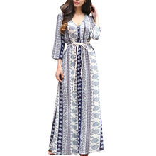 Womail Floral Print Summer Maxi Dress Women Vintage V Neck Sundress Beach 2018 Long Sleeve Boho Vestidos Drop Shipping 1.JULY.21(China)