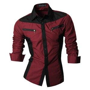 Image 5 - Jeansian chemises pour hommes, caractéristiques, printemps automne, décontracté chemise à manches longues, Slim Fit, fermeture éclair, décoration (sans poches) Z018
