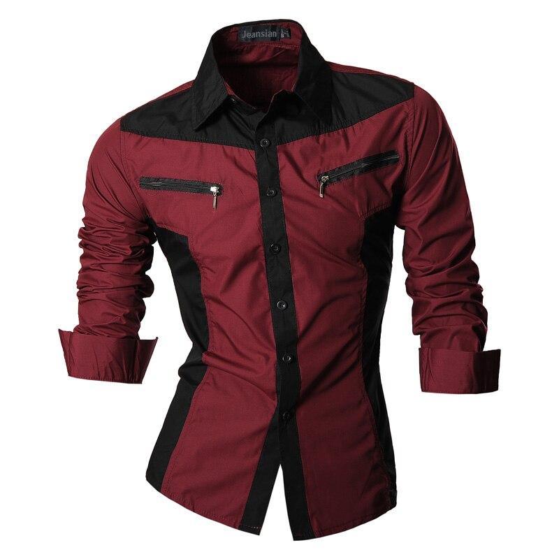 Image 5 - jeansian Spring Autumn Features Shirts Men Casual Shirt Long  Sleeve Slim Fit Male Shirts Zipper Decoration (No Pockets) Z018male  shirtshirt men casualshirt men