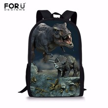 FORUDESIGNS 3D Jurassic World Dinosaur Backpack 16 Inch School Bags for Teenagers Boy Travel Bag Children Book Bags Mochila
