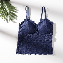 Women Lace Beauty Strap Sexy Camis Chest Pad Summer Crop Tops Sexy Gathered Push Up Bra Women Camisole Tank Tops