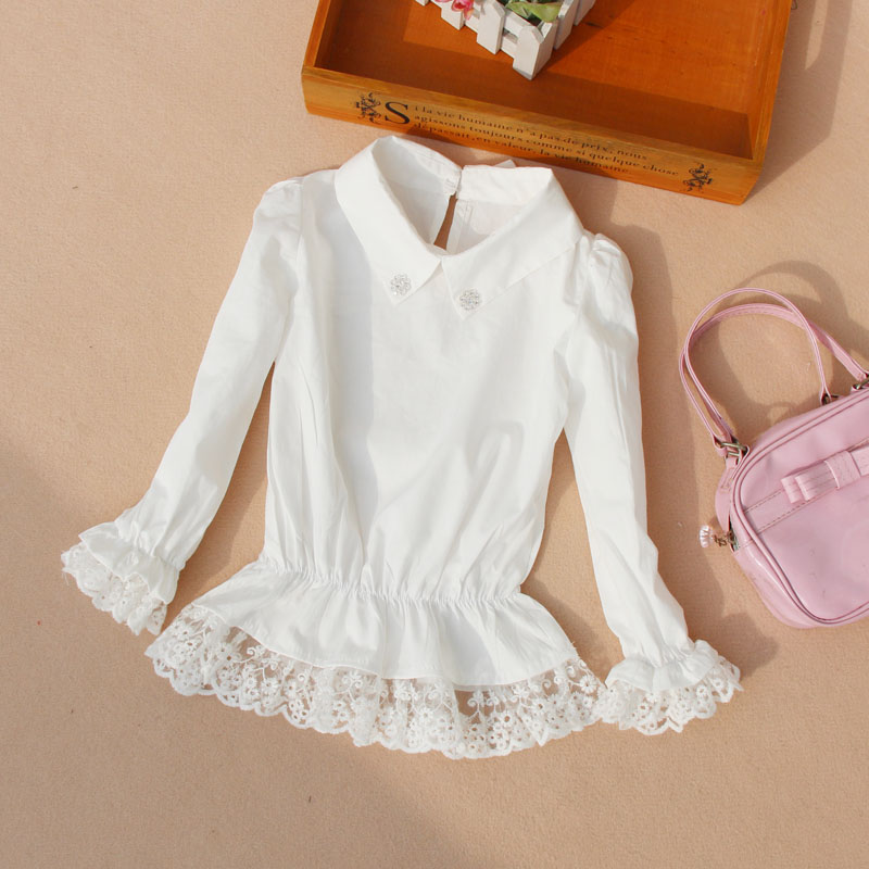 031e6896 2018 Autumn Girls Blouse Children Clothing Kids Baby Girl Clothes Child  Shirt Long Sleeve Lace White School Blouses Age 2-16T