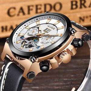 Image 2 - 2019 New LIGE Fashion Men Watches Top Brand Luxury Automatic Mechanical Watch Men Casual Leather Waterproof Sport WristWatch+Box