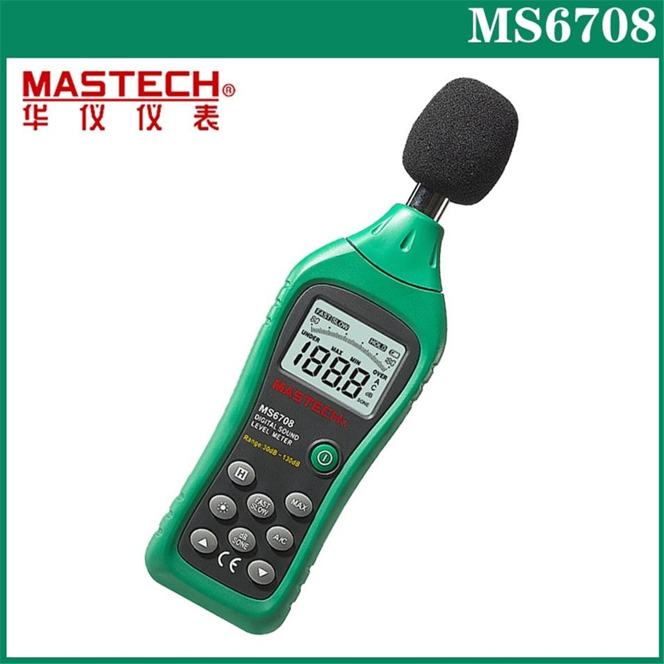 Hot MASTECH MS6708 Handheld LCD Digital Display 30dB ~ 130dB Digital Sound Level Meter Noise Meter DB Decibel Level Meter Tester digital lcd sound level meter sl 5826 noise meter decibel monitor tester sl5826
