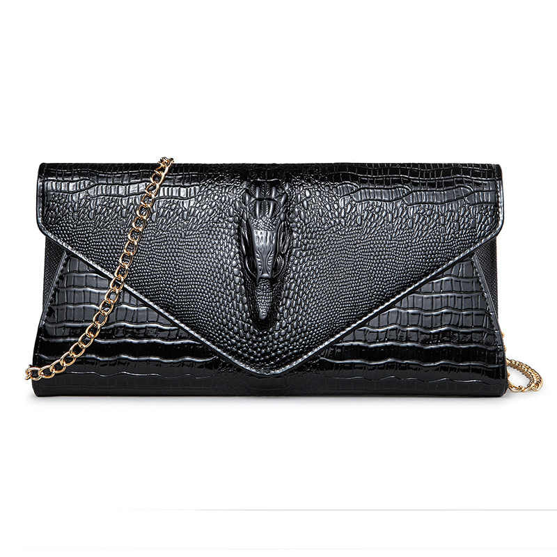 ac775b201418 NIGEDU Brand Fashion 3D Crocodile women clutch bag luxury Alligator ladies evening  bags and Clutches chain
