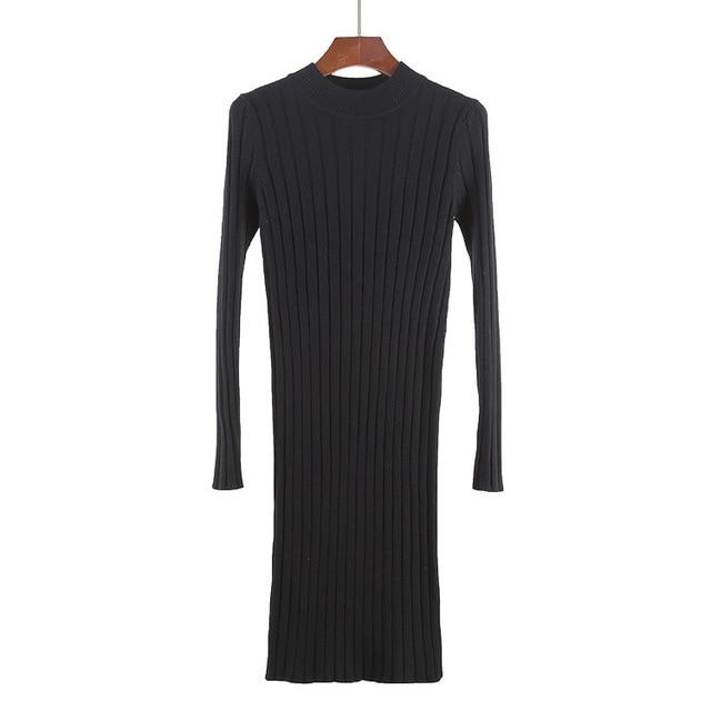 High Quality Autumn Winter Warm Women Basic Sweater Dress Fashion Rib Slim Knitted Wool Dress Long Sleeves Female Dresses 1905