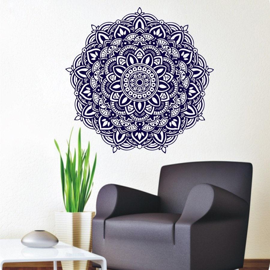 Free shipping wall stickers mandala meditation yoga wall - Removable wall stickers living room ...