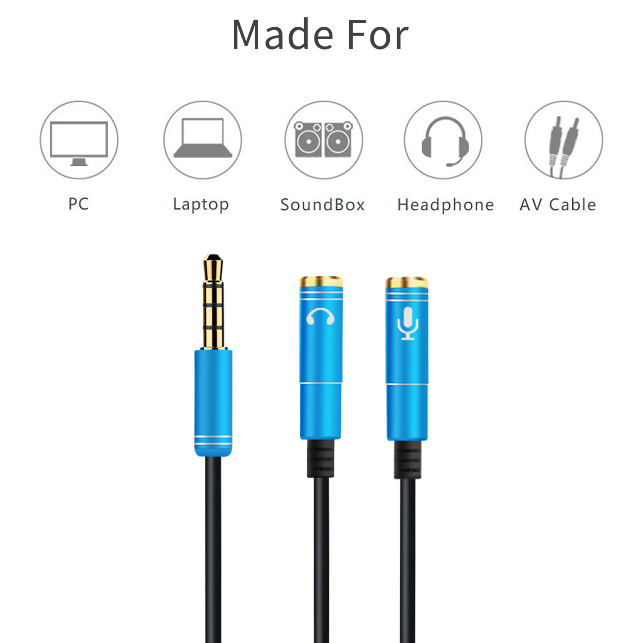 2RCA To 3.5 Microphone Aux Cable For Laptop Headphone 1 Male 2 Famle Audio Cable Combo Extension Mobile Audio Adapter Splitter