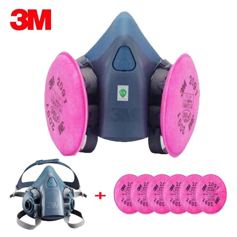 Güvenlik ve Koruma'ten Kimyasal Gaz Maskeleri'de 7 1 takım 3M 7502 2091 P100 sanayi iş maske boya toz maskesi maskesi sprey toz maskesi filtreler title=